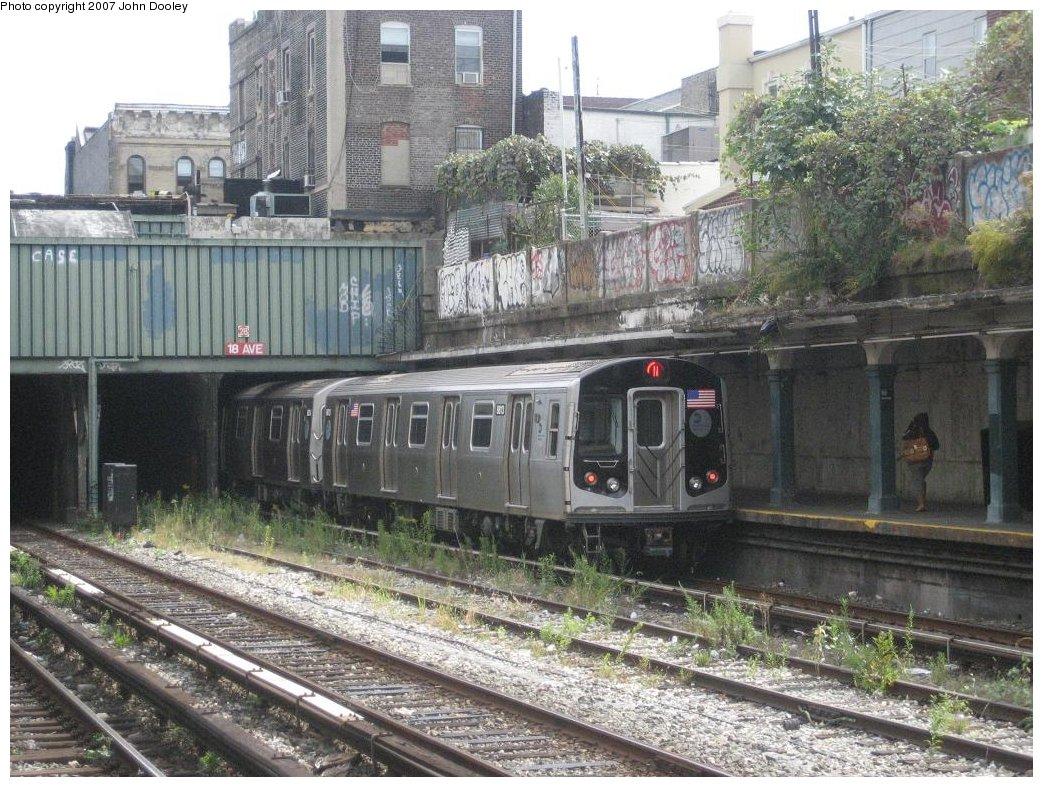 (231k, 1043x787)<br><b>Country:</b> United States<br><b>City:</b> New York<br><b>System:</b> New York City Transit<br><b>Line:</b> BMT Sea Beach Line<br><b>Location:</b> 18th Avenue <br><b>Route:</b> N<br><b>Car:</b> R-160B (Kawasaki, 2005-2008)  8813 <br><b>Photo by:</b> John Dooley<br><b>Date:</b> 10/1/2007<br><b>Viewed (this week/total):</b> 1 / 2827