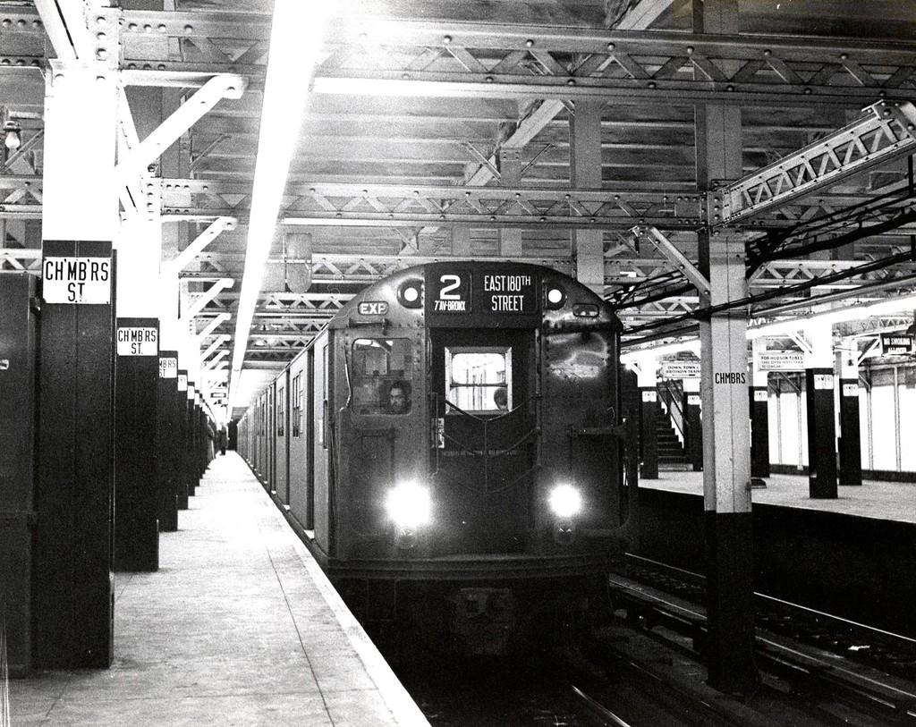 (294k, 1024x813)<br><b>Country:</b> United States<br><b>City:</b> New York<br><b>System:</b> New York City Transit<br><b>Line:</b> IRT West Side Line<br><b>Location:</b> Chambers Street <br><b>Route:</b> 2<br><b>Car:</b> R-21/R-22 Series (Number Unknown)  <br><b>Collection of:</b> George Conrad Collection<br><b>Date:</b> 11/2/1958<br><b>Viewed (this week/total):</b> 0 / 3504