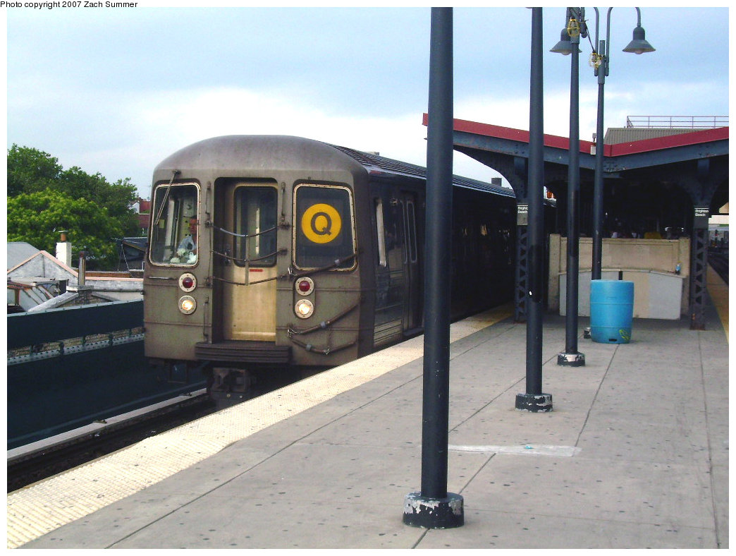 (198k, 1044x788)<br><b>Country:</b> United States<br><b>City:</b> New York<br><b>System:</b> New York City Transit<br><b>Line:</b> BMT Brighton Line<br><b>Location:</b> Brighton Beach <br><b>Route:</b> Q<br><b>Car:</b> R-68/R-68A Series (Number Unknown)  <br><b>Photo by:</b> Zach Summer<br><b>Date:</b> 6/9/2007<br><b>Viewed (this week/total):</b> 0 / 1307