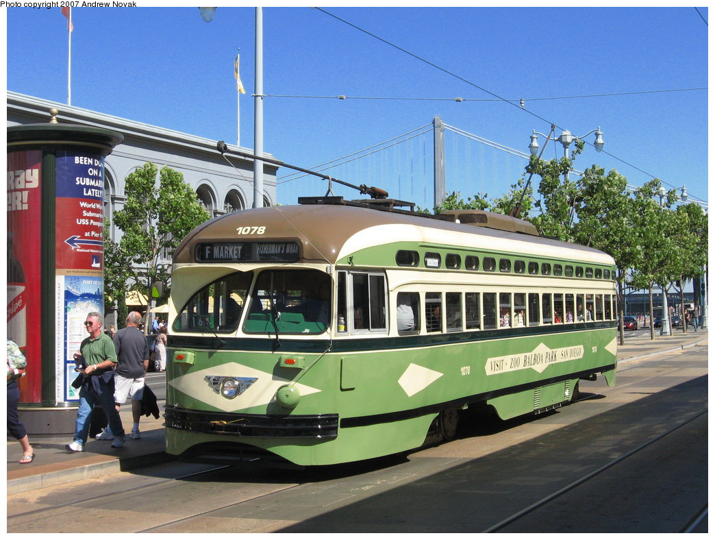(212k, 1044x788)<br><b>Country:</b> United States<br><b>City:</b> San Francisco/Bay Area, CA<br><b>System:</b> SF MUNI<br><b>Location:</b> Embarcadero/Ferry Building <br><b>Car:</b> SF MUNI PCC (Ex-NJTransit, Ex-Twin City) (St. Louis Car Co., 1946-1947)  1078 <br><b>Photo by:</b> Andrew Novak<br><b>Date:</b> 8/3/2007<br><b>Viewed (this week/total):</b> 2 / 1115