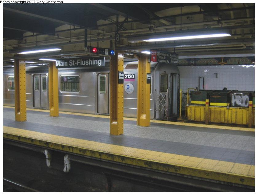 (94k, 840x635)<br><b>Country:</b> United States<br><b>City:</b> New York<br><b>System:</b> New York City Transit<br><b>Line:</b> IRT Flushing Line<br><b>Location:</b> Main Street/Flushing <br><b>Route:</b> Work Service<br><b>Car:</b> R-62A (Bombardier, 1984-1987)  2130 <br><b>Photo by:</b> Gary Chatterton<br><b>Date:</b> 9/23/2007<br><b>Viewed (this week/total):</b> 0 / 3918