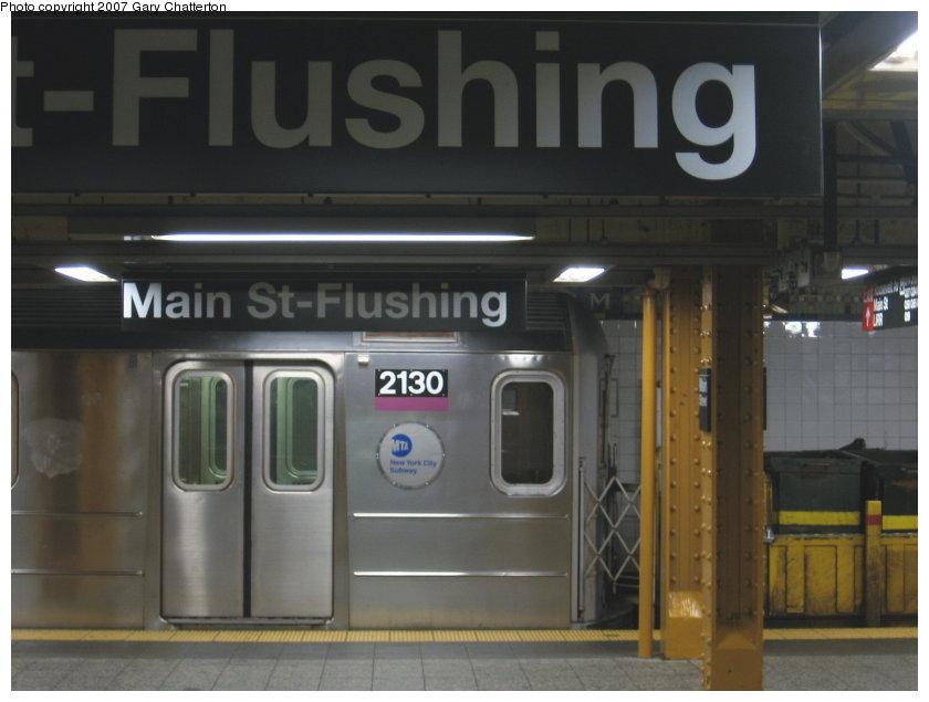 (79k, 840x635)<br><b>Country:</b> United States<br><b>City:</b> New York<br><b>System:</b> New York City Transit<br><b>Line:</b> IRT Flushing Line<br><b>Location:</b> Main Street/Flushing <br><b>Route:</b> Work Service<br><b>Car:</b> R-62A (Bombardier, 1984-1987)  2130 <br><b>Photo by:</b> Gary Chatterton<br><b>Date:</b> 9/23/2007<br><b>Viewed (this week/total):</b> 2 / 2628
