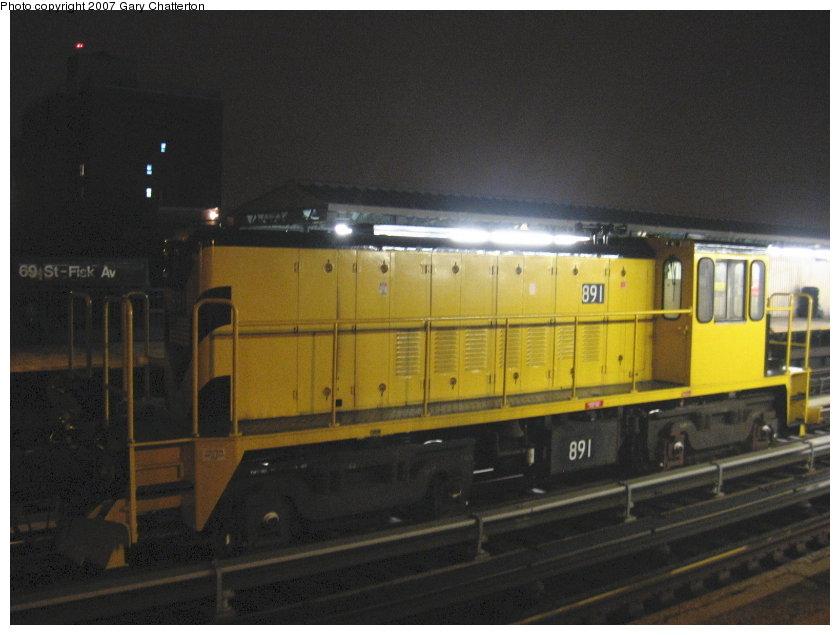 (89k, 840x635)<br><b>Country:</b> United States<br><b>City:</b> New York<br><b>System:</b> New York City Transit<br><b>Line:</b> IRT Flushing Line<br><b>Location:</b> 69th Street/Fisk Avenue <br><b>Route:</b> Work Service<br><b>Car:</b> R-77 Locomotive  891 <br><b>Photo by:</b> Gary Chatterton<br><b>Date:</b> 9/23/2007<br><b>Viewed (this week/total):</b> 1 / 1356