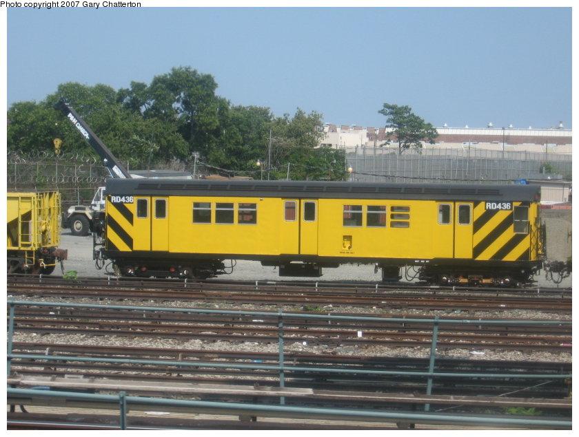 (118k, 840x635)<br><b>Country:</b> United States<br><b>City:</b> New York<br><b>System:</b> New York City Transit<br><b>Location:</b> Coney Island Yard<br><b>Car:</b> R-161 Rider Car (ex-R-33)  RD436 (ex-8914)<br><b>Photo by:</b> Gary Chatterton<br><b>Date:</b> 9/8/2007<br><b>Viewed (this week/total):</b> 0 / 1261