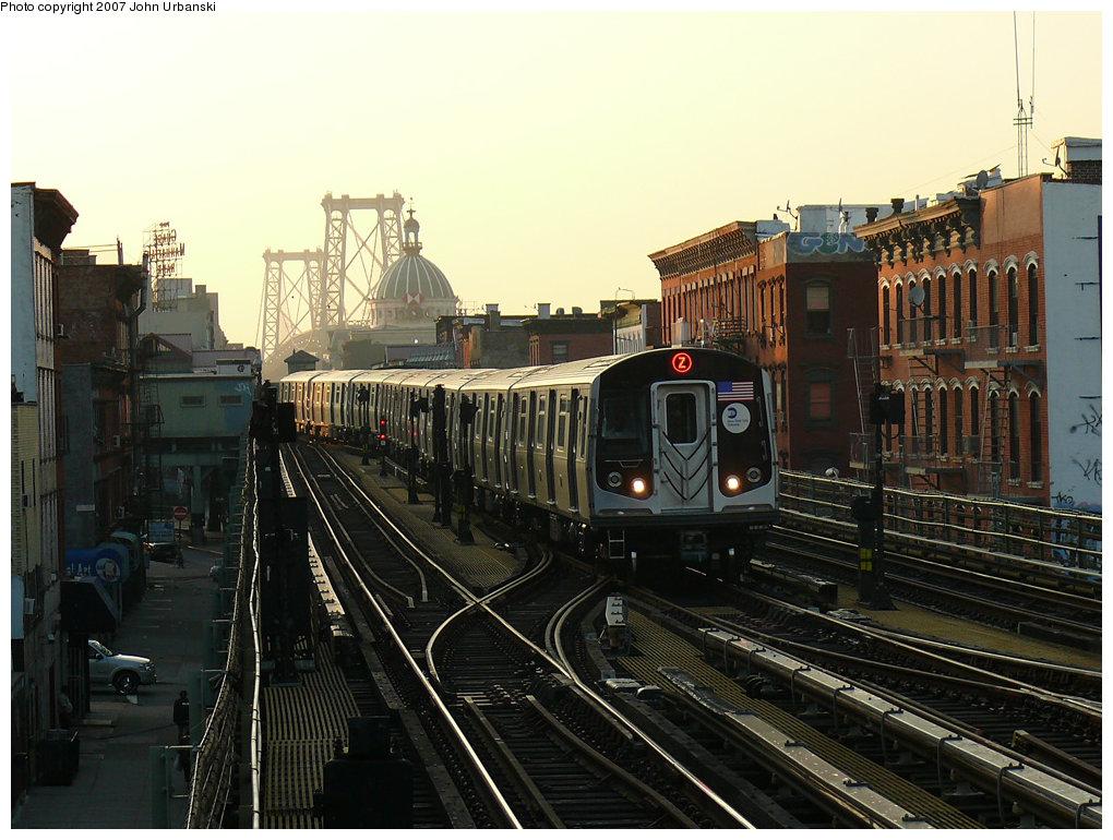 (237k, 1020x770)<br><b>Country:</b> United States<br><b>City:</b> New York<br><b>System:</b> New York City Transit<br><b>Line:</b> BMT Nassau Street/Jamaica Line<br><b>Location:</b> Hewes Street <br><b>Route:</b> Z<br><b>Car:</b> R-160A-1 (Alstom, 2005-2008, 4 car sets)   <br><b>Photo by:</b> John Urbanski<br><b>Date:</b> 10/4/2007<br><b>Viewed (this week/total):</b> 0 / 3271