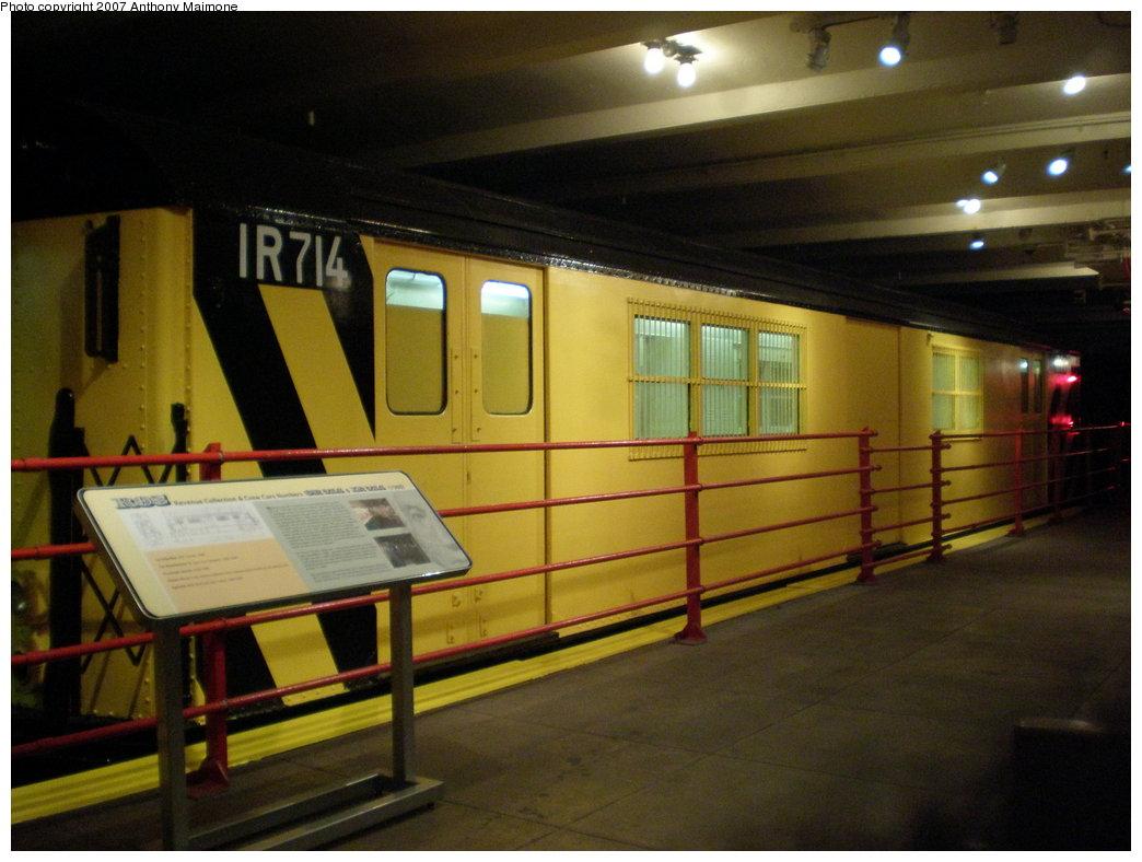 (164k, 1044x788)<br><b>Country:</b> United States<br><b>City:</b> New York<br><b>System:</b> New York City Transit<br><b>Location:</b> New York Transit Museum<br><b>Car:</b> R-95 Locker Car (Revenue Train) 1R714 (ex-7422)<br><b>Photo by:</b> Anthony Maimone<br><b>Date:</b> 10/6/2007<br><b>Notes:</b> Money train exhibit at NY Transit Museum.<br><b>Viewed (this week/total):</b> 1 / 3225