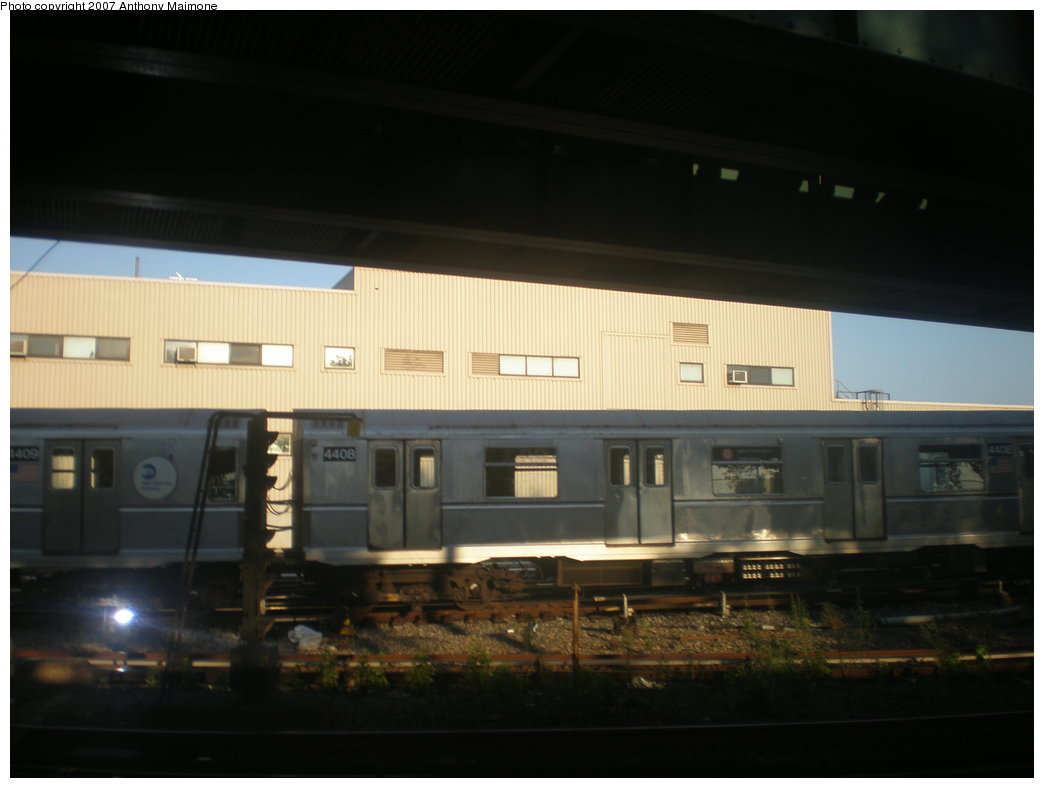 (114k, 1044x788)<br><b>Country:</b> United States<br><b>City:</b> New York<br><b>System:</b> New York City Transit<br><b>Location:</b> Coney Island Yard<br><b>Car:</b> R-40 (St. Louis, 1968)  4408 <br><b>Photo by:</b> Anthony Maimone<br><b>Date:</b> 10/6/2007<br><b>Viewed (this week/total):</b> 1 / 3010