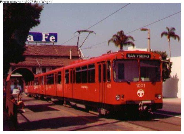 (51k, 640x468)<br><b>Country:</b> United States<br><b>City:</b> San Diego, CA<br><b>System:</b> San Diego Trolley<br><b>Line:</b> San Diego Trolley-Blue Line<br><b>Location:</b> Santa Fe Depot <br><b>Car:</b> Siemens U2  1001 <br><b>Photo by:</b> Bob Wright<br><b>Date:</b> 1982<br><b>Viewed (this week/total):</b> 3 / 1111