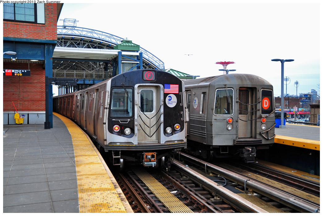 (278k, 1044x700)<br><b>Country:</b> United States<br><b>City:</b> New York<br><b>System:</b> New York City Transit<br><b>Location:</b> Coney Island/Stillwell Avenue<br><b>Route:</b> F<br><b>Car:</b> R-160B (Option 2) (Kawasaki, 2009)  9837 <br><b>Photo by:</b> Zach Summer<br><b>Date:</b> 3/10/2010<br><b>Notes:</b> With R68 2572 on the D<br><b>Viewed (this week/total):</b> 2 / 2126