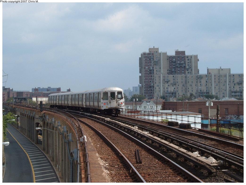 (167k, 1044x788)<br><b>Country:</b> United States<br><b>City:</b> New York<br><b>System:</b> New York City Transit<br><b>Line:</b> IND Rockaway<br><b>Location:</b> Beach 67th Street/Gaston Avenue <br><b>Route:</b> S<br><b>Car:</b> R-44 (St. Louis, 1971-73)  <br><b>Photo by:</b> Chris M.<br><b>Date:</b> 10/7/2007<br><b>Viewed (this week/total):</b> 1 / 1778