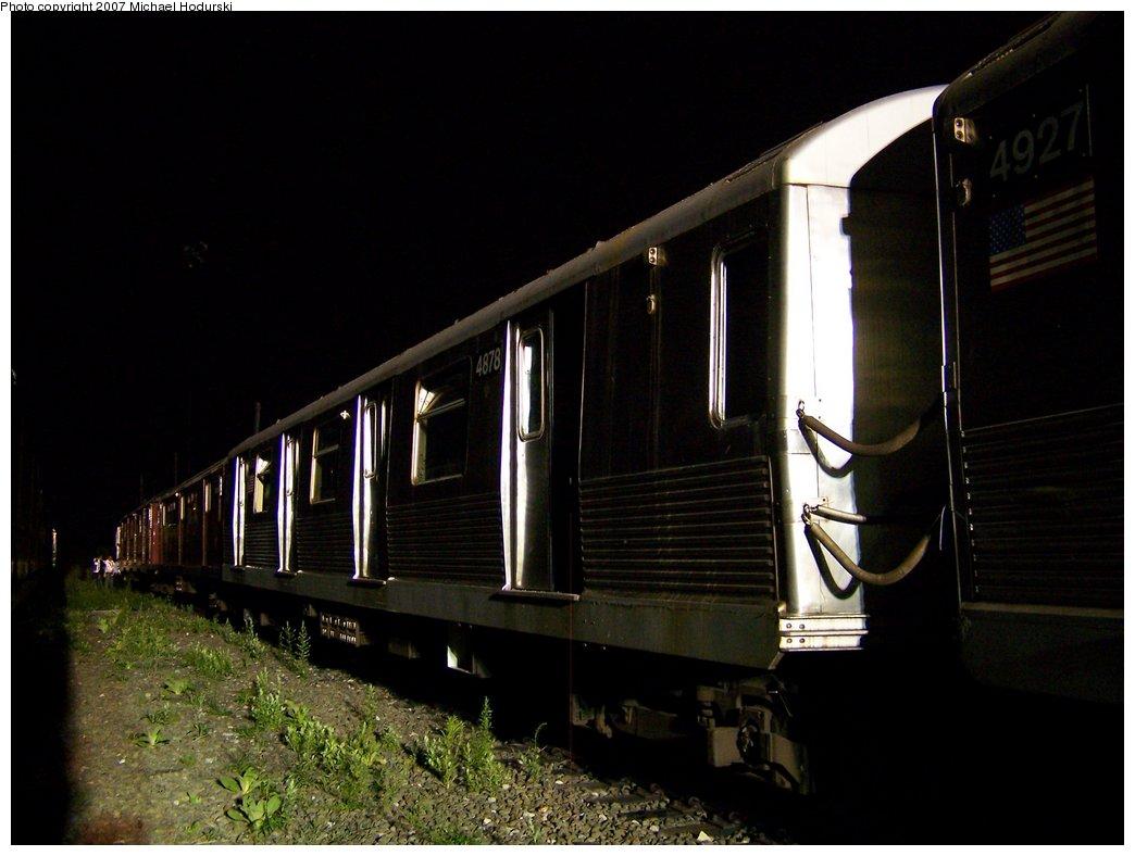 (134k, 1044x788)<br><b>Country:</b> United States<br><b>City:</b> New York<br><b>System:</b> New York City Transit<br><b>Line:</b> South Brooklyn Railway<br><b>Location:</b> SBK Yard (2nd Ave at 38th St.) (SBK)<br><b>Car:</b> R-42 (St. Louis, 1969-1970)  4878 <br><b>Photo by:</b> Michael Hodurski<br><b>Date:</b> 8/14/2007<br><b>Viewed (this week/total):</b> 1 / 1651