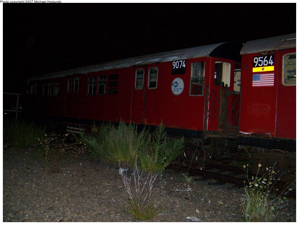 (159k, 1044x788)<br><b>Country:</b> United States<br><b>City:</b> New York<br><b>System:</b> New York City Transit<br><b>Line:</b> South Brooklyn Railway<br><b>Location:</b> SBK Yard (2nd Ave at 38th St.) (SBK)<br><b>Car:</b> R-33 Main Line (St. Louis, 1962-63) 9074 <br><b>Photo by:</b> Michael Hodurski<br><b>Date:</b> 8/14/2007<br><b>Viewed (this week/total):</b> 11 / 2138
