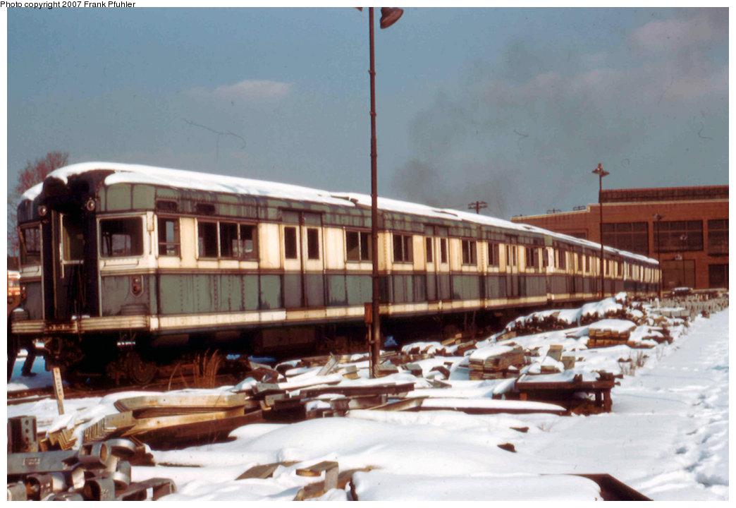 (186k, 1044x720)<br><b>Country:</b> United States<br><b>City:</b> New York<br><b>System:</b> New York City Transit<br><b>Location:</b> Coney Island Yard<br><b>Car:</b> BMT Bluebird 8002 <br><b>Photo by:</b> Frank Pfuhler<br><b>Date:</b> 2/2/1957<br><b>Viewed (this week/total):</b> 0 / 2355