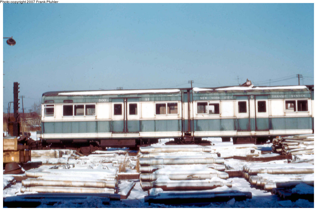 (176k, 1044x696)<br><b>Country:</b> United States<br><b>City:</b> New York<br><b>System:</b> New York City Transit<br><b>Location:</b> Coney Island Yard<br><b>Car:</b> BMT Bluebird 8003 <br><b>Photo by:</b> Frank Pfuhler<br><b>Date:</b> 1/20/1957<br><b>Viewed (this week/total):</b> 1 / 1881