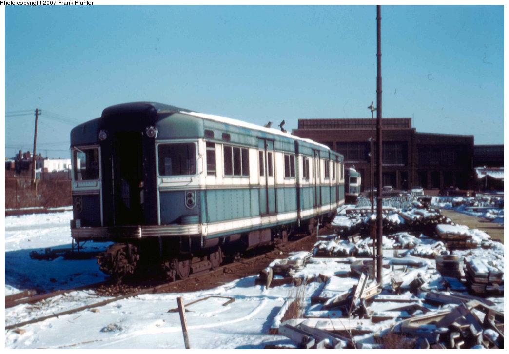 (199k, 1044x726)<br><b>Country:</b> United States<br><b>City:</b> New York<br><b>System:</b> New York City Transit<br><b>Location:</b> Coney Island Yard<br><b>Car:</b> BMT Bluebird 8003 <br><b>Photo by:</b> Frank Pfuhler<br><b>Date:</b> 1/20/1957<br><b>Viewed (this week/total):</b> 2 / 1936