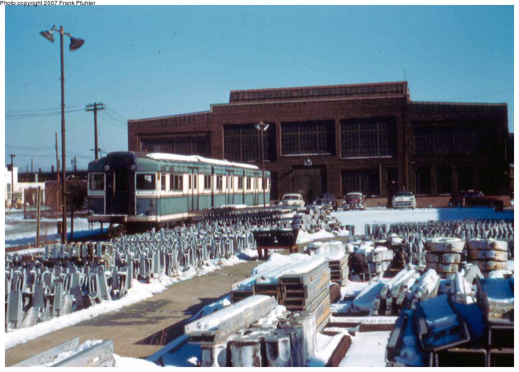 (224k, 1044x748)<br><b>Country:</b> United States<br><b>City:</b> New York<br><b>System:</b> New York City Transit<br><b>Location:</b> Coney Island Yard<br><b>Car:</b> BMT Bluebird 8005 <br><b>Photo by:</b> Frank Pfuhler<br><b>Date:</b> 1/20/1957<br><b>Viewed (this week/total):</b> 0 / 2223
