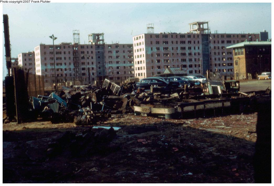 (190k, 1044x711)<br><b>Country:</b> United States<br><b>City:</b> New York<br><b>System:</b> New York City Transit<br><b>Location:</b> Coney Island Yard<br><b>Car:</b> BMT Bluebird  <br><b>Photo by:</b> Frank Pfuhler<br><b>Date:</b> 1/15/1957<br><b>Viewed (this week/total):</b> 0 / 2715