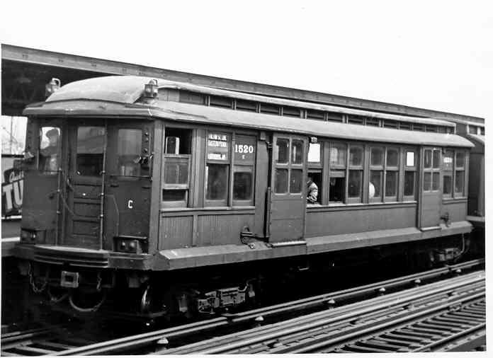 (29k, 696x506)<br><b>Country:</b> United States<br><b>City:</b> New York<br><b>System:</b> New York City Transit<br><b>Line:</b> IND Fulton Street Line<br><b>Location:</b> Rockaway Boulevard <br><b>Car:</b> BMT C 1520 <br><b>Photo by:</b> Frank Pfuhler<br><b>Date:</b> 5/1/1954<br><b>Viewed (this week/total):</b> 0 / 1680