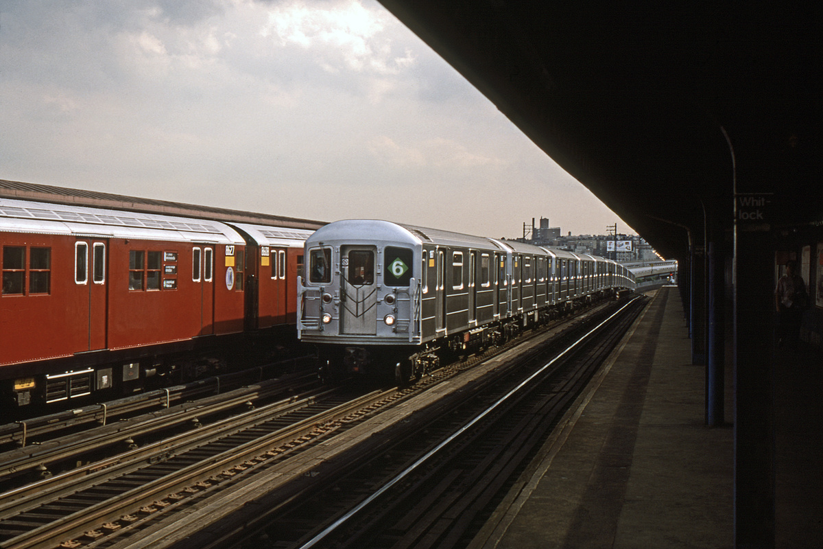 (342k, 1024x683)<br><b>Country:</b> United States<br><b>City:</b> New York<br><b>System:</b> New York City Transit<br><b>Line:</b> IRT Pelham Line<br><b>Location:</b> Whitlock Avenue <br><b>Route:</b> 6<br><b>Car:</b> R-62A (Bombardier, 1984-1987)   <br><b>Photo by:</b> Gerald H. Landau<br><b>Collection of:</b> David Pirmann<br><b>Date:</b> 9/24/1987<br><b>Viewed (this week/total):</b> 11 / 1873
