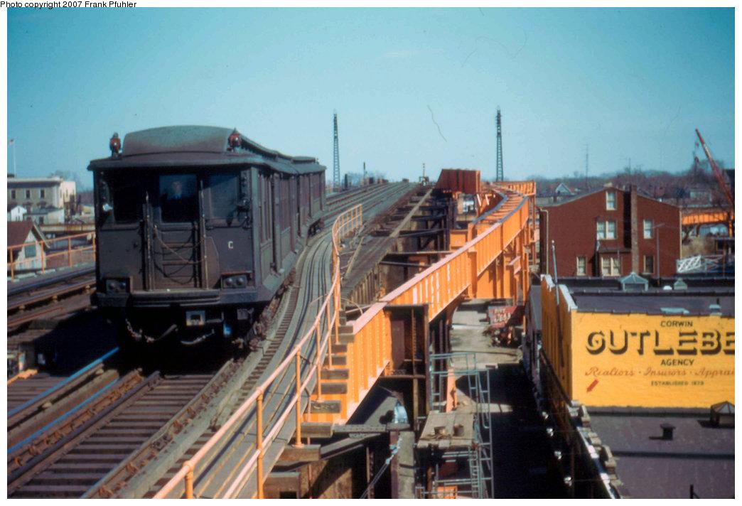 (200k, 1044x712)<br><b>Country:</b> United States<br><b>City:</b> New York<br><b>System:</b> New York City Transit<br><b>Line:</b> IND Fulton Street Line<br><b>Location:</b> Rockaway Boulevard <br><b>Car:</b> BMT C 1525 <br><b>Photo by:</b> Frank Pfuhler<br><b>Date:</b> 3/20/1955<br><b>Viewed (this week/total):</b> 2 / 3313