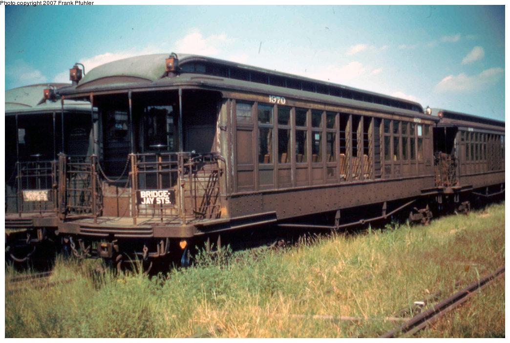 (215k, 1044x703)<br><b>Country:</b> United States<br><b>City:</b> New York<br><b>System:</b> New York City Transit<br><b>Location:</b> Fresh Pond Yard<br><b>Car:</b> BMT Elevated Gate Car 1370 <br><b>Photo by:</b> Frank Pfuhler<br><b>Date:</b> 9/4/1955<br><b>Viewed (this week/total):</b> 1 / 1852