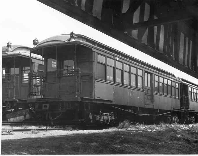 (26k, 684x540)<br><b>Country:</b> United States<br><b>City:</b> New York<br><b>System:</b> New York City Transit<br><b>Location:</b> Fresh Pond Yard<br><b>Car:</b> BMT Elevated Gate Car 862 <br><b>Photo by:</b> Frank Pfuhler<br><b>Date:</b> 8/19/1954<br><b>Viewed (this week/total):</b> 3 / 1754