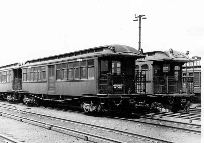 (26k, 684x481)<br><b>Country:</b> United States<br><b>City:</b> New York<br><b>System:</b> New York City Transit<br><b>Location:</b> Fresh Pond Yard<br><b>Car:</b> BMT Elevated Gate Car 888 <br><b>Photo by:</b> Frank Pfuhler<br><b>Date:</b> 8/9/1954<br><b>Viewed (this week/total):</b> 0 / 1830