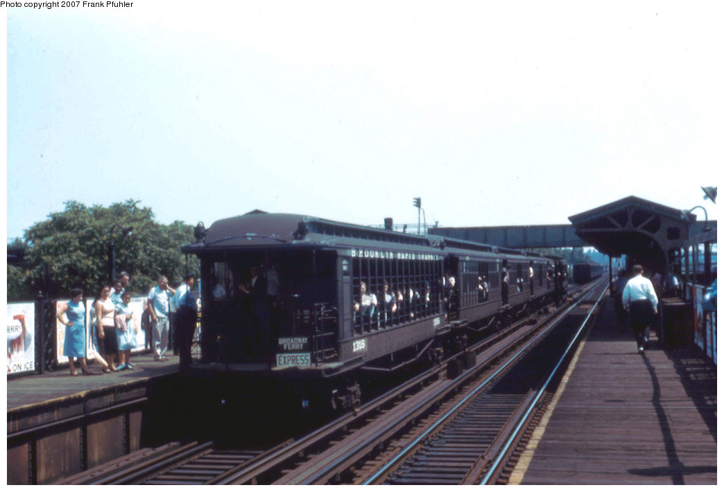 (145k, 1044x710)<br><b>Country:</b> United States<br><b>City:</b> New York<br><b>System:</b> New York City Transit<br><b>Line:</b> BMT Canarsie Line<br><b>Location:</b> Livonia Avenue <br><b>Route:</b> Fan Trip<br><b>Car:</b> BMT Elevated Gate Car 1316 <br><b>Photo by:</b> Frank Pfuhler<br><b>Date:</b> 6/29/1958<br><b>Notes:</b> Farewell to the Gate Cars fantrip<br><b>Viewed (this week/total):</b> 3 / 2241