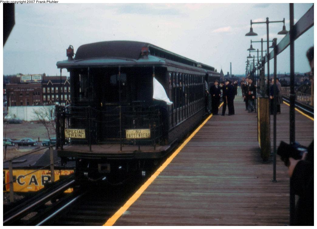 (156k, 1044x754)<br><b>Country:</b> United States<br><b>City:</b> New York<br><b>System:</b> New York City Transit<br><b>Line:</b> BMT Nassau Street/Jamaica Line<br><b>Location:</b> Alabama Avenue <br><b>Route:</b> Fan Trip<br><b>Car:</b> BMT Elevated Gate Car 1382 <br><b>Photo by:</b> Frank Pfuhler<br><b>Date:</b> 4/22/1956<br><b>Viewed (this week/total):</b> 2 / 2344