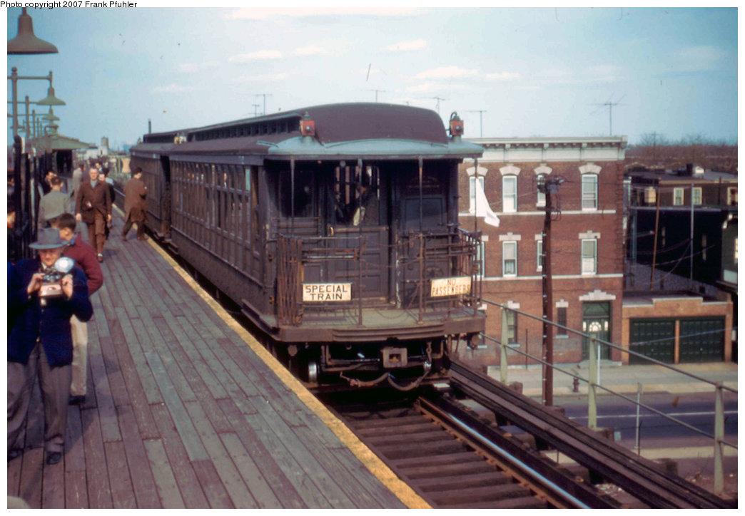 (197k, 1044x724)<br><b>Country:</b> United States<br><b>City:</b> New York<br><b>System:</b> New York City Transit<br><b>Line:</b> BMT Nassau Street/Jamaica Line<br><b>Location:</b> Crescent Street <br><b>Route:</b> Fan Trip<br><b>Car:</b> BMT Elevated Gate Car 1315/1382 <br><b>Photo by:</b> Frank Pfuhler<br><b>Date:</b> 4/22/1956<br><b>Viewed (this week/total):</b> 0 / 2804