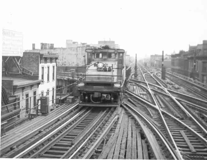 (28k, 675x523)<br><b>Country:</b> United States<br><b>City:</b> New York<br><b>System:</b> New York City Transit<br><b>Line:</b> BMT Nassau Street/Jamaica Line<br><b>Location:</b> Myrtle Avenue <br><b>Route:</b> Work Service<br><b>Car:</b> SBK Steeplecab  <br><b>Photo by:</b> Frank Pfuhler<br><b>Date:</b> 2/28/1954<br><b>Viewed (this week/total):</b> 3 / 3077