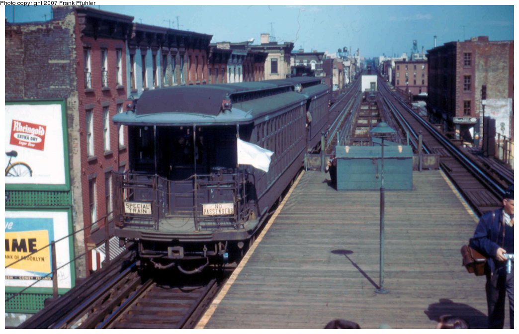 (203k, 1044x672)<br><b>Country:</b> United States<br><b>City:</b> New York<br><b>System:</b> New York City Transit<br><b>Line:</b> BMT Myrtle Avenue Line<br><b>Location:</b> Washington Avenue <br><b>Route:</b> Fan Trip<br><b>Car:</b> BMT Elevated Gate Car 1315/1382 <br><b>Photo by:</b> Frank Pfuhler<br><b>Date:</b> 4/22/1956<br><b>Viewed (this week/total):</b> 3 / 4311
