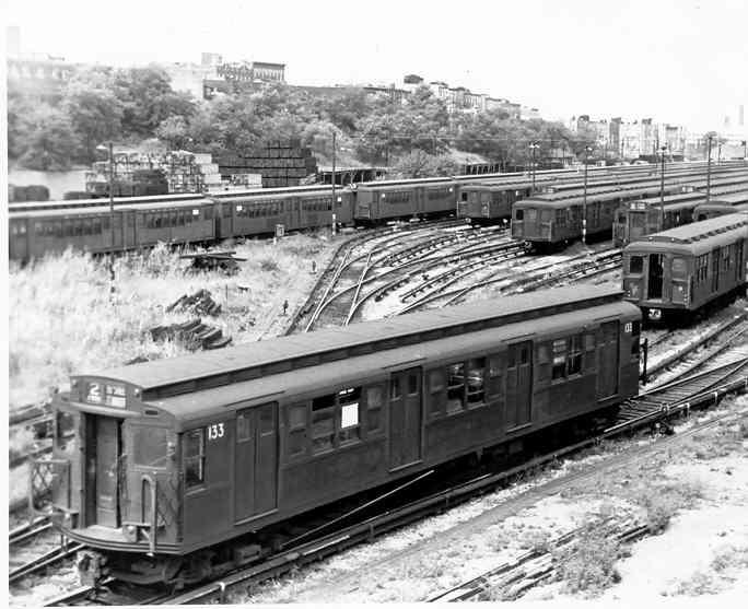 (41k, 684x557)<br><b>Country:</b> United States<br><b>City:</b> New York<br><b>System:</b> New York City Transit<br><b>Location:</b> 36th Street Yard<br><b>Car:</b> R-1 (American Car & Foundry, 1930-1931) 133 <br><b>Photo by:</b> Frank Pfuhler<br><b>Date:</b> 8/28/1954<br><b>Viewed (this week/total):</b> 3 / 3274