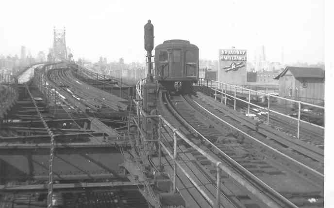 (19k, 688x430)<br><b>Country:</b> United States<br><b>City:</b> New York<br><b>System:</b> New York City Transit<br><b>Line:</b> BMT Astoria Line<br><b>Location:</b> Queensborough Plaza <br><b>Car:</b> BMT A/B-Type Standard 2023 <br><b>Photo by:</b> Frank Pfuhler<br><b>Date:</b> 1/17/1954<br><b>Viewed (this week/total):</b> 0 / 4272