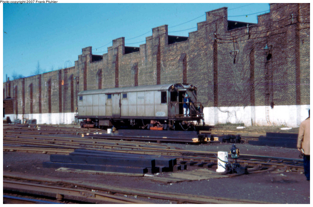 (211k, 1044x689)<br><b>Country:</b> United States<br><b>City:</b> New York<br><b>System:</b> New York City Transit<br><b>Location:</b> East New York Yard/Shops<br><b>Car:</b> Tool Welding Car (ACF, 1918)  5000 <br><b>Photo by:</b> Frank Pfuhler<br><b>Date:</b> 4/1958<br><b>Viewed (this week/total):</b> 11 / 1870