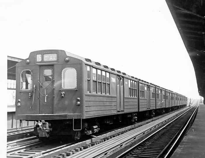 (27k, 701x540)<br><b>Country:</b> United States<br><b>City:</b> New York<br><b>System:</b> New York City Transit<br><b>Line:</b> IND Fulton Street Line<br><b>Location:</b> Rockaway Boulevard <br><b>Car:</b> BMT Multi 7004/7009 <br><b>Photo by:</b> Frank Pfuhler<br><b>Date:</b> 6/1/1955<br><b>Viewed (this week/total):</b> 2 / 2021