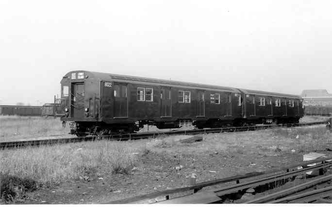 (19k, 684x426)<br><b>Country:</b> United States<br><b>City:</b> New York<br><b>System:</b> New York City Transit<br><b>Location:</b> Coney Island Yard<br><b>Car:</b> R-27 (St. Louis, 1960)  8022/8023 <br><b>Photo by:</b> Frank Pfuhler<br><b>Date:</b> 11/26/1960<br><b>Viewed (this week/total):</b> 1 / 2923
