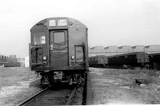 (19k, 663x439)<br><b>Country:</b> United States<br><b>City:</b> New York<br><b>System:</b> New York City Transit<br><b>Location:</b> Coney Island Yard<br><b>Car:</b> R-27 (St. Louis, 1960)  8022 <br><b>Photo by:</b> Frank Pfuhler<br><b>Date:</b> 11/26/1960<br><b>Viewed (this week/total):</b> 11 / 3233