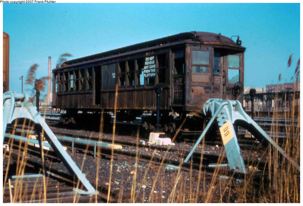 (237k, 1044x711)<br><b>Country:</b> United States<br><b>City:</b> New York<br><b>System:</b> New York City Transit<br><b>Location:</b> Coney Island Yard<br><b>Car:</b> BMT Elevated Gate Car 998 <br><b>Photo by:</b> Frank Pfuhler<br><b>Date:</b> 2/12/1959<br><b>Viewed (this week/total):</b> 2 / 2396