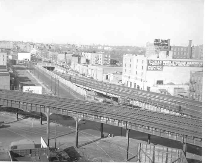 (27k, 688x548)<br><b>Country:</b> United States<br><b>City:</b> New York<br><b>System:</b> New York City Transit<br><b>Line:</b> BMT Culver Line<br><b>Location:</b> Ditmas Avenue <br><b>Photo by:</b> Frank Pfuhler<br><b>Date:</b> 2/12/1954<br><b>Viewed (this week/total):</b> 0 / 4007
