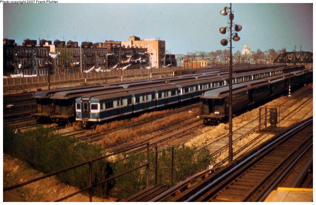 (237k, 1044x679)<br><b>Country:</b> United States<br><b>City:</b> New York<br><b>System:</b> New York City Transit<br><b>Location:</b> Fresh Pond Yard<br><b>Car:</b> BMT Bluebird  <br><b>Photo by:</b> Frank Pfuhler<br><b>Date:</b> 4/18/1955<br><b>Viewed (this week/total):</b> 0 / 3042