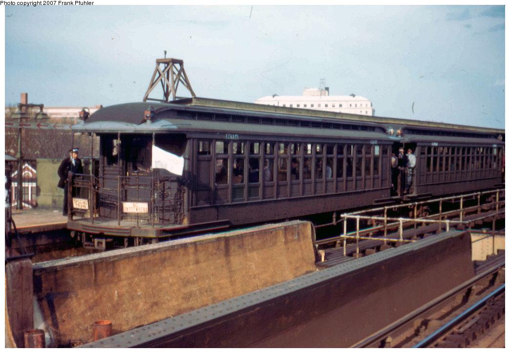 (182k, 1044x722)<br><b>Country:</b> United States<br><b>City:</b> New York<br><b>System:</b> New York City Transit<br><b>Line:</b> BMT Nassau Street/Jamaica Line<br><b>Location:</b> Queens Boulevard (Demolished) <br><b>Route:</b> Fan Trip<br><b>Car:</b> BMT Elevated Gate Car 1315/1382 <br><b>Photo by:</b> Frank Pfuhler<br><b>Date:</b> 4/22/1956<br><b>Viewed (this week/total):</b> 3 / 3103