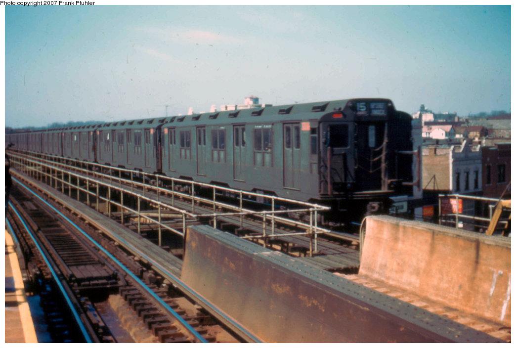(182k, 1044x704)<br><b>Country:</b> United States<br><b>City:</b> New York<br><b>System:</b> New York City Transit<br><b>Line:</b> BMT Nassau Street/Jamaica Line<br><b>Location:</b> Queens Boulevard (Demolished) <br><b>Car:</b> R-10 (American Car & Foundry, 1948)  <br><b>Photo by:</b> Frank Pfuhler<br><b>Date:</b> 3/20/1955<br><b>Viewed (this week/total):</b> 5 / 4165