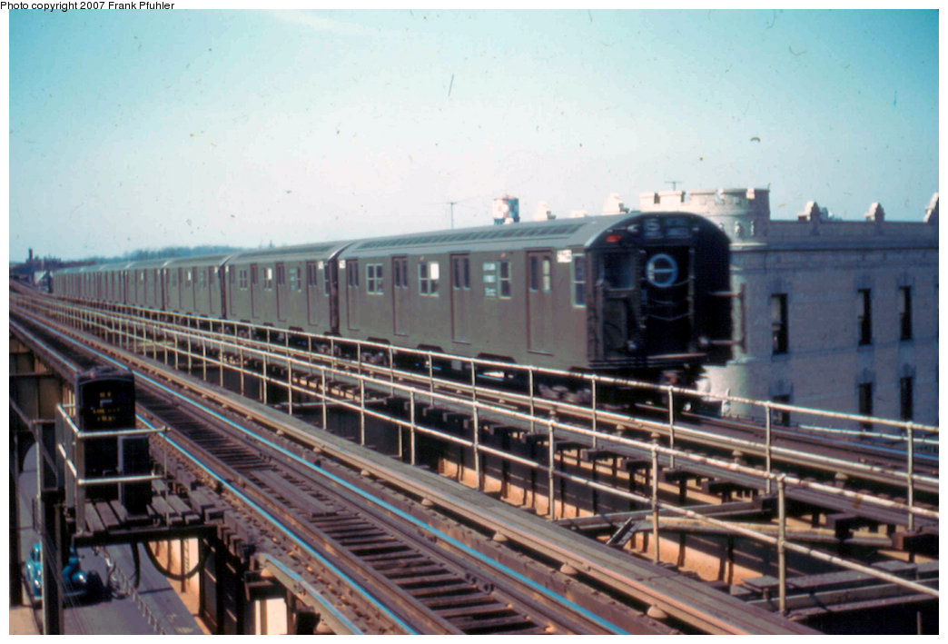 (207k, 1044x709)<br><b>Country:</b> United States<br><b>City:</b> New York<br><b>System:</b> New York City Transit<br><b>Line:</b> BMT Nassau Street/Jamaica Line<br><b>Location:</b> Queens Boulevard (Demolished) <br><b>Car:</b> R-16 (American Car & Foundry, 1955)  <br><b>Photo by:</b> Frank Pfuhler<br><b>Date:</b> 3/20/1955<br><b>Viewed (this week/total):</b> 1 / 4528