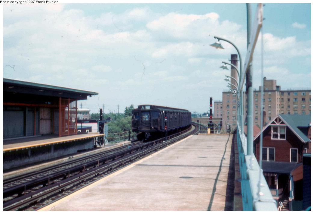 (172k, 1044x710)<br><b>Country:</b> United States<br><b>City:</b> New York<br><b>System:</b> New York City Transit<br><b>Line:</b> IND Rockaway<br><b>Location:</b> Beach 90th Street/Holland <br><b>Route:</b> E<br><b>Car:</b> R-1/R-9 Series   <br><b>Photo by:</b> Frank Pfuhler<br><b>Date:</b> 7/29/1956<br><b>Viewed (this week/total):</b> 2 / 2577