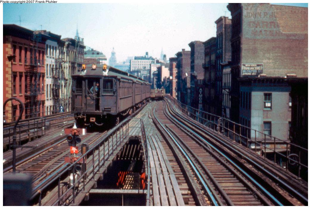 (240k, 1044x701)<br><b>Country:</b> United States<br><b>City:</b> New York<br><b>System:</b> New York City Transit<br><b>Line:</b> 3rd Avenue El<br><b>Location:</b> Canal Street <br><b>Car:</b> MUDC  <br><b>Photo by:</b> Frank Pfuhler<br><b>Date:</b> 5/10/1955<br><b>Notes:</b> Work train.<br><b>Viewed (this week/total):</b> 3 / 3618