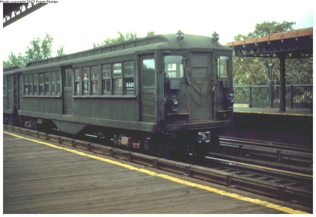 (159k, 1044x715)<br><b>Country:</b> United States<br><b>City:</b> New York<br><b>System:</b> New York City Transit<br><b>Line:</b> IRT Pelham Line<br><b>Car:</b> Hi-V 3420 <br><b>Photo by:</b> Frank Pfuhler<br><b>Date:</b> 8/14/1955<br><b>Notes:</b> Gibbs Modified Motor car with manual doors.<br><b>Viewed (this week/total):</b> 3 / 2984