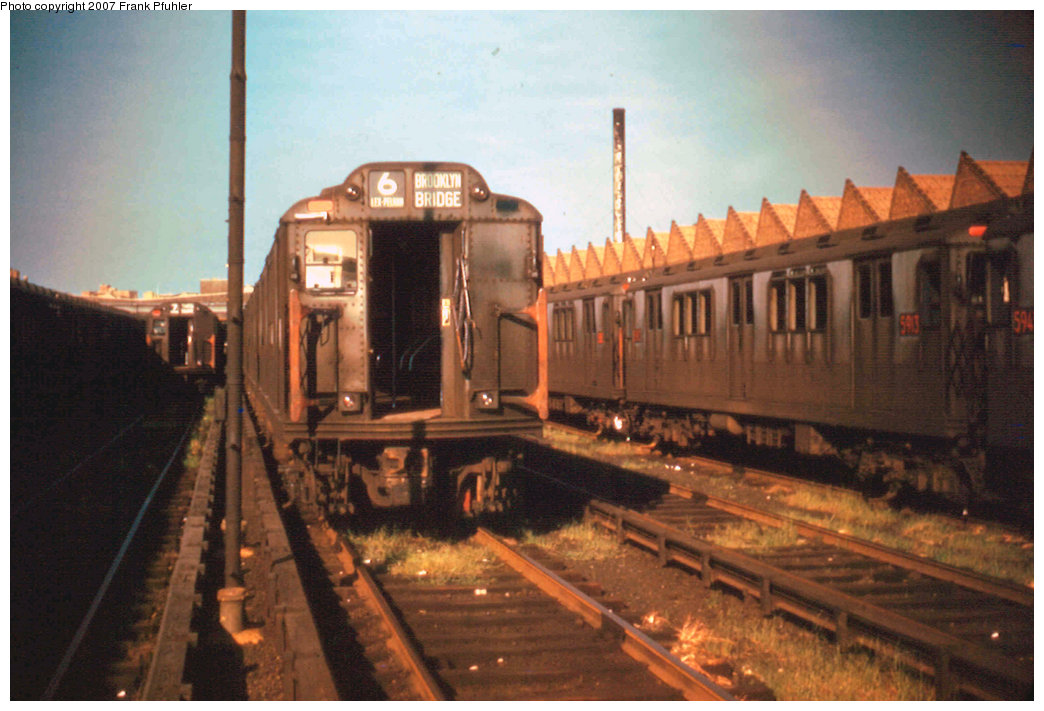 (205k, 1044x711)<br><b>Country:</b> United States<br><b>City:</b> New York<br><b>System:</b> New York City Transit<br><b>Location:</b> Corona Yard<br><b>Car:</b> R-12 (American Car & Foundry, 1948)  <br><b>Photo by:</b> Frank Pfuhler<br><b>Date:</b> 7/30/1955<br><b>Viewed (this week/total):</b> 4 / 2719