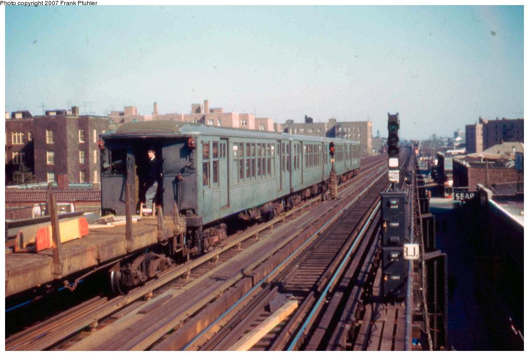 (196k, 1044x703)<br><b>Country:</b> United States<br><b>City:</b> New York<br><b>System:</b> New York City Transit<br><b>Line:</b> IRT Flushing Line<br><b>Location:</b> 82nd Street/Jackson Heights <br><b>Route:</b> Work Service<br><b>Car:</b> BMT Q  <br><b>Photo by:</b> Frank Pfuhler<br><b>Date:</b> 2/20/1955<br><b>Viewed (this week/total):</b> 2 / 2759