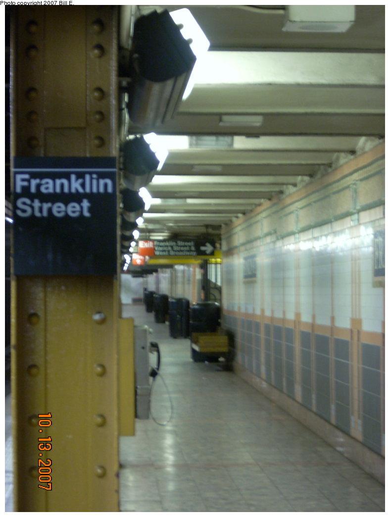(142k, 788x1044)<br><b>Country:</b> United States<br><b>City:</b> New York<br><b>System:</b> New York City Transit<br><b>Line:</b> IRT West Side Line<br><b>Location:</b> Franklin Street <br><b>Photo by:</b> Bill E.<br><b>Date:</b> 10/13/2007<br><b>Viewed (this week/total):</b> 1 / 1519